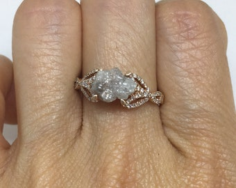 1.70 Carat Rough Diamond in 14K Rose Gold Ring Raw Pink Diamond Center Stone by Luxinelle