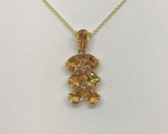 Pear Cut Citrine Leaf Drop Pendant in 14K Yellow Gold by Luxinelle