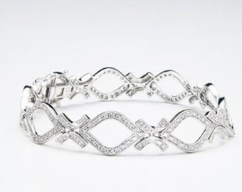 Diamond Tennis Bracelet 1.22 Carat 14K White Gold Pave Setting 7 inch by Luxinelle