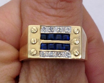 Mens Blue Sapphire and Diamond Gold Ring for Him Gentleman's Ring September Birthstone Birthday