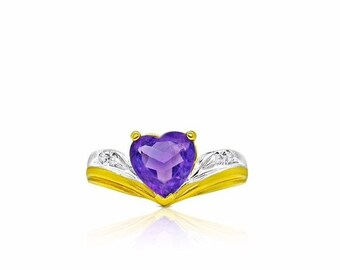14K Heart Amethyst Ring - 2 Tone Gold - Pisces February Birthstone