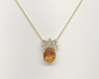 2 Carat Oval Cut Citrine and Baguette Diamond Pendant in 14K Yellow Gold, Pineapple by Luxinelle