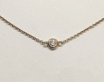 Bezel Diamond on a Italian Gold Chain - VS2 F - 14K White, Yellow or Rose Pink Gold Minimalist Solitaire Necklace Handmade