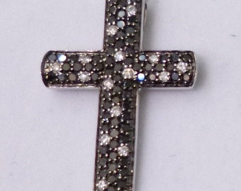 Black and White Diamond Cross Pendant - 14k
