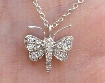 18K White Gold Diamond Pave Butterfly Pendant Necklace
