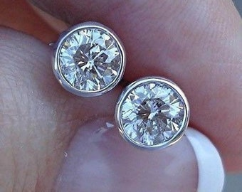 0.50 Half Carat Bezel Set Diamond Stud Solitaire Screwback Earrings - 14K Yellow Rose White Gold Wardrobe Staple