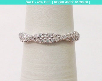 Twisted Diamond Wedding Band Stacking Ring - Infinity Pave Twist Half Eternity in 14K White, Yellow or Rose Gold by Luxinelle