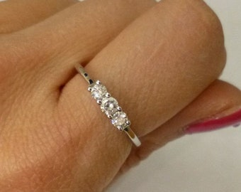 3 Diamond Ring 14k White Gold Diamond Band - Past Present Future Wedding Ring