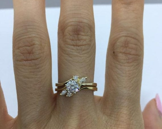 Featured listing image: 1/2 Carat Diamond Engagement Ring with Matching Wedding Band 0.59 tcw SI Clarity 14K Yellow Gold