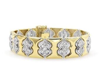 3 Carat Diamond 2 Tone Gold Bracelet - 14k - 2 Tone Diamond Bracelet