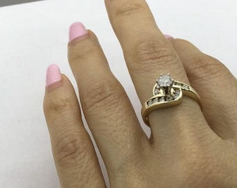 1/2 Carat Engagement Ring 14K Yellow Gold 0.51 Ctw Twisted Halo 6 Prong High Setting
