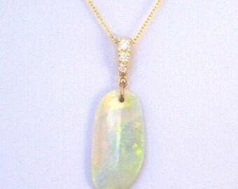 Natural Australian Lightening Ridge Opal 6.35 Carat 14k Yellow Gold with Diamonds