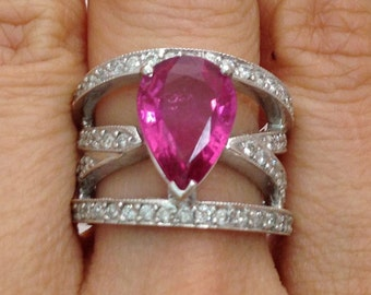 Big Pear Shaped Pink Tourmaline And Diamond Ring - 14K White Gold