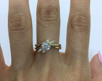 1/2 Carat Diamond Engagement Ring with Matching Wedding Band 0.59 tcw SI Clarity 14K Yellow Gold