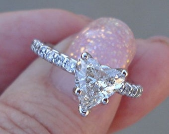 Certified 1 Carat Heart Diamond Solitaire Engagement Ring - 14K White Gold