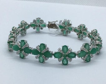 Diamond and Emerald Flower Bracelet in 14K White Gold 20 Carat Oval Cut Green Gemstone Floral Design by Luxinelle Jewelry