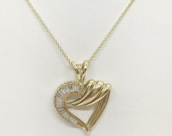 Baguette Diamonds Heart Shaped Pendant in 14K Yellow Gold by Luxinelle