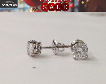 1 Carat Diamond Stud Earrings - Screwback 4 Prong 18K