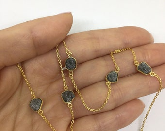 7 Carat Bezel Set Silvery Gray Raw Diamonds on a Chain Necklace - 14K Yellow, White or Rose Pink Gold
