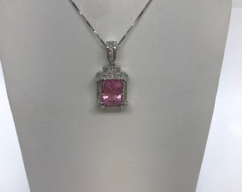 4.96 Carat Pink Tourmaline and Diamond Pendant on a Chain 14k White Gold Princess Cut