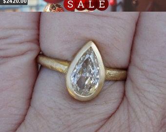 1 Carat Pear Cut Certified Diamond Ring - D Color, SI3 14K Yellow, White or Rose Gold in Handmade Bezel Engagement Ring