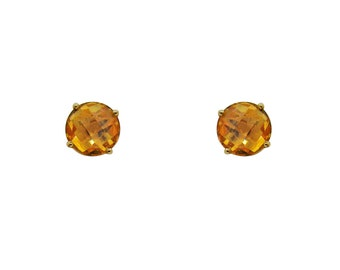 2.86 Carat Checkerboard Cut Citrine Stud Earrings in 14K Yellow Gold