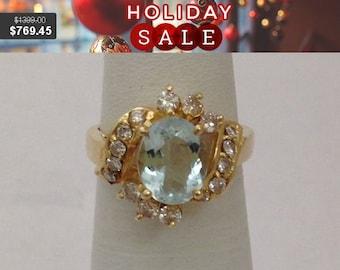 Aquamarine Diamond Ring - 14k Yellow Gold Diamond Accents Oval Cut Aquamarine Stone March Birthstone