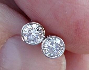 0.50 Carat 14K White Gold Extra Thin Bezel Diamond Stud Earrings