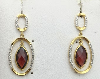 18K 2.51 Carat Marquise Shape Red Garnet Diamond Drop Earrings - Yellow Gold January Birthstone