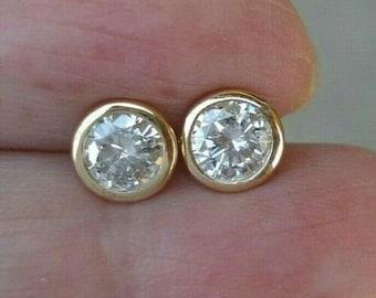 Classic 0.84 Carat Bezel Diamond Earrings - 14K Yellow Gold Studs