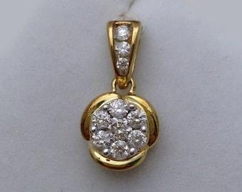 1/2 Carat Round Diamond Pendant - Flower Design - 14K Yellow Gold Diamond Charm Necklace