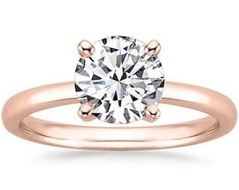 Rose Gold 1/2 Carat Gia Certified Diamond Engagement Ring 0.44 Ct VS2 I 4 Prong 14K