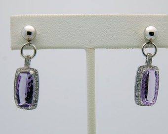 White Gold Amethyst Diamond Drop Earrings -14K February Birthdays, rectangle cut, diamond halo, purple gemstone