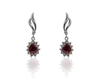 2.89 Carat Ruby and Diamond 14K White Gold Earrings by Luxinelle