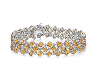Big Diamond and Citrine Bracelet - 21.61 TCW 14K White Gold November Birthstone Orange Gemstone