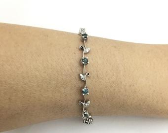 1.31 Carat Blue and White Diamond Bracelet Floral Rose Chain 14k White Gold