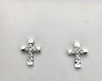 Round Diamond Cross Earrings in White Gold - 14K by Luxinelle