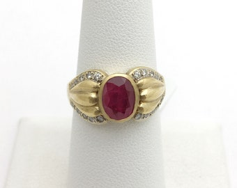 Bezel Set Ruby Ring with Diamonds - 18K Yellow Gold