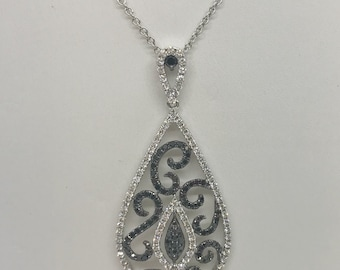18K Black and White Diamond White Gold Teardrop Shape Pendant 2.14 TCW by Luxinelle
