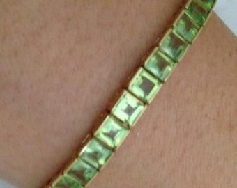 Peridot Bracelet with 13 Carat Princess Cut Green Peridots in 14K Yellow Gold - August Birthstone Green Gemstone