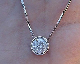 1/2 Carat Natural Diamond Solitaire Necklace - 14K White Gold Bezel Setting Handmade SI2 H Eye Clean Stone
