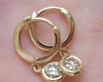 14K Yellow Gold Dangling Diamond Bezel Hoops Earrings