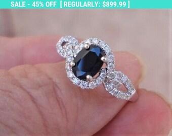 1.32 Carat Dark Blue Sapphire Oval Cut Diamond Halo Ring 14k White Gold