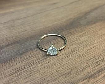 Minimalist 0.73 Carat Trillion Cut Diamond on Simple Band Ring - 14K Yellow Gold Triangle Diamond Ring