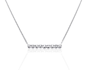 Diamond Bar on a Chain Pendant Necklace 14K White Gold 0.20 TCW