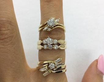 1/2 Carat Diamond Engagement Bridal Sets Matching Wedding Band - 14K Yellow Gold SI Clarity