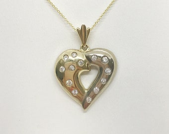 2 Tone Gold Diamond Heart Pendant Necklace - White and Yellow Gold 14K by Luxinelle
