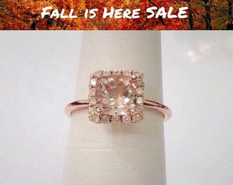 Morganite Rose Gold Ring - Square Cushion Cut with Diamond Halo by Luxinelle