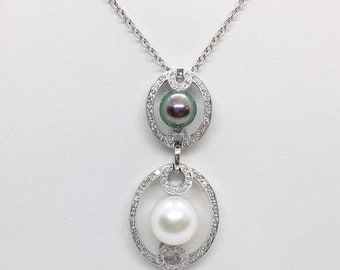 Black and White Fresh Water Pearl Diamond Pendant 18K White Gold by Luxinelle