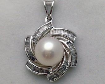 Large Pearl Pendant with Baguette Diamonds Flower Design - 18k White Gold